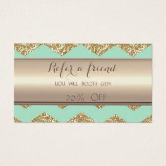 Stylish Faux Gold Glittery Zigzag  Referral Card