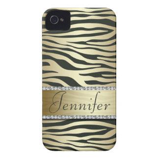 Stylish Faux Jeweled Zebra Print iPhone Case