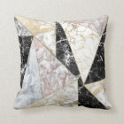 Stylish faux rose gold black white luxury marble throw pillow