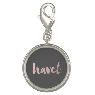 """stylish faux rose gold foil text """"travel"""" charms"""