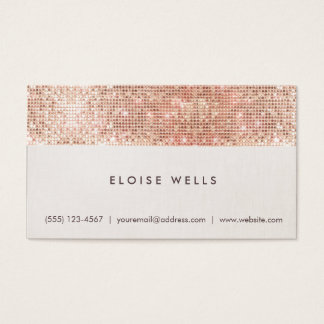 Stylish Faux Rose Gold Sequins Linen Fun Trendy Business Card