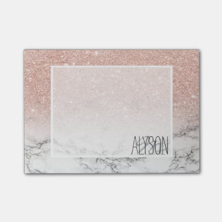 Stylish faux rose pink glitter ombre white marble post-it® notes