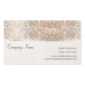 Stylish Faux Silver Sequins Linen Fun Trendy Pack Of Standard Business Cards