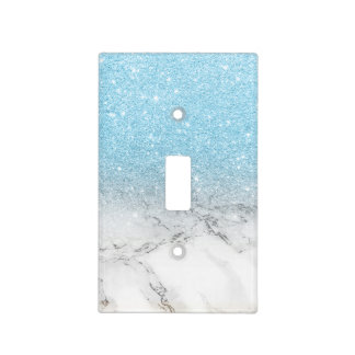 Stylish fauxblue glitter ombre white marble light switch cover