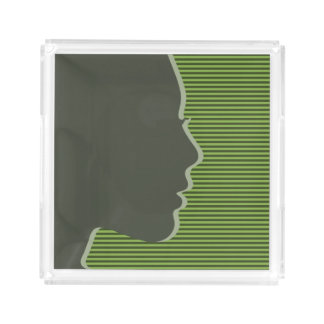 Stylish Female Silhouette Acrylic Tray