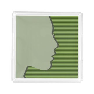 Stylish Female Silhouette on Greenery Stripes Acrylic Tray