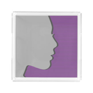Stylish Female Silhouette on Plum Purple Stripes Acrylic Tray