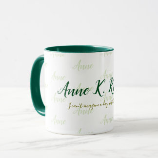 stylish feminine handwritten name green white mug