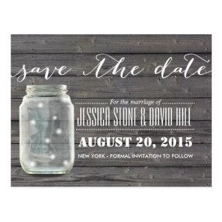 Stylish Fireflies & Mason Jar Wood Save the Date Postcard