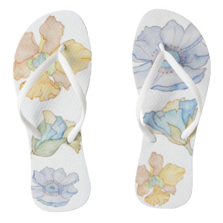 Stylish floral flip flops