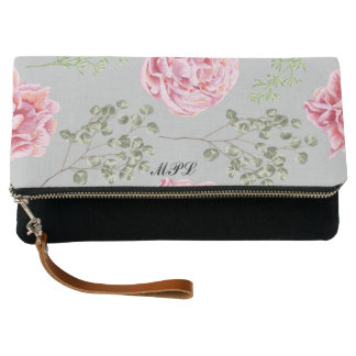 Stylish floral monogramed clutch