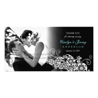 Stylish Floral Paisley Boho Chic Wedding Thank You Personalized Photo Card