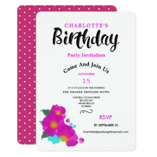 Stylish Floral Watercolor Cerise Birthday Invires Card