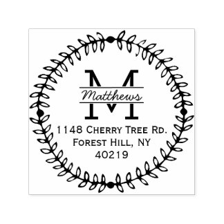 Stylish Floral Wreath Custom Monogram Self-inking Stamp
