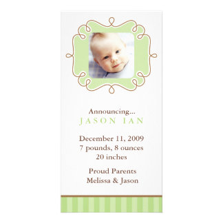 Stylish Frame Photo Birth Announcements Photo Card Template