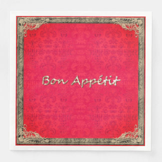 STYLISH-FRENCH-EVERYDAY-RED-DAMASK-NAPKIN PAPER NAPKIN