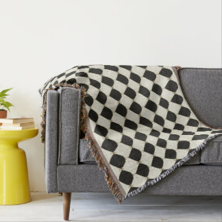 Stylish-French-Harlequin-Home_Decor-B&W_--Blanket_ Throw Blanket