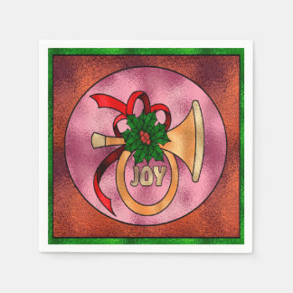 Stylish French Horn, Ribbon,  Holly & Berries Paper Napkin