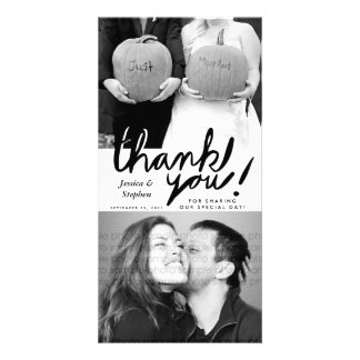 Stylish Fun Handwrite Thank You Two Photo Card