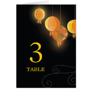 Stylish Garden Lanterns Wedding Table Numbers Card
