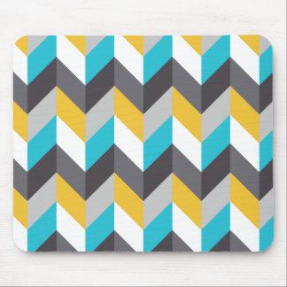 Stylish Geometric Blue Yellow Gray Pattern Mouse Pad