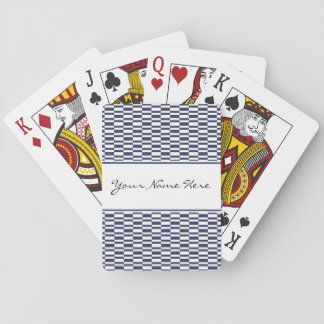 Stylish Geometric Navy Blue & White Pattern Playing Cards