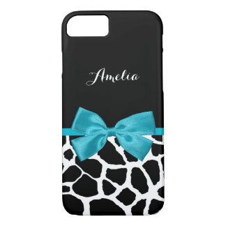 Stylish Giraffe Print and Name Girly Turquoise Bow iPhone 8/7 Case