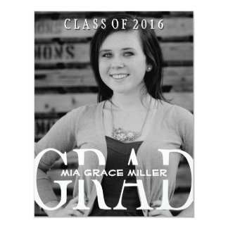 "Stylish Girl Photo 2016 Graduation Annouoncement 4.25"" X 5.5"" Invitation Card"