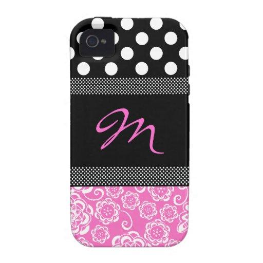 Stylish Girly Monogram iphone 4 Case