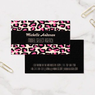 Stylish girly pink cheetah spots business card