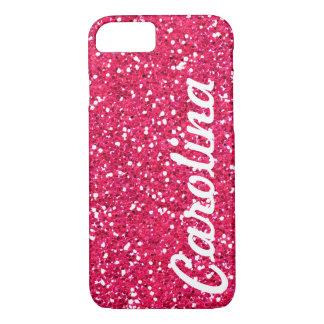 Stylish Girly Pink Glitter Personalized iPhone 8/7 Case