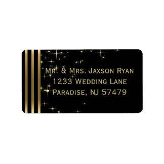 Stylish Gold and Black Star Lights Label