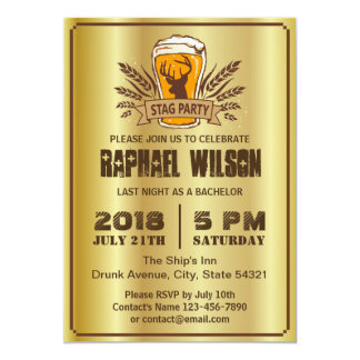 """Stylish Gold Beer Barley Stag Bachelor Party Card 5"""" X 7"""" Invitation Card"""