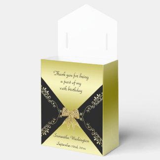 Stylish Gold & Black Decorative Bow Birthday Favor Box