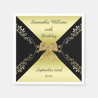 Stylish Gold & Black Decorative Bow Birthday Napkin