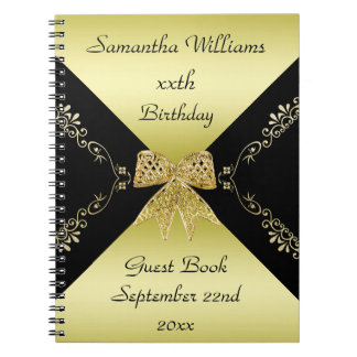 Stylish Gold & Black Decorative Bow Birthday Notebook
