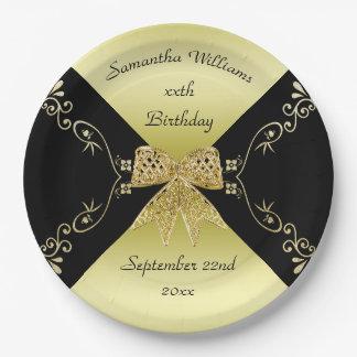 Stylish Gold & Black Decorative Bow Birthday Paper Plate