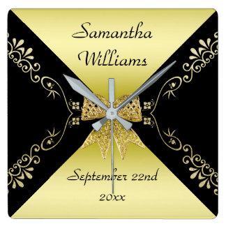 Stylish Gold & Black Decorative Bow Birthday Square Wall Clock