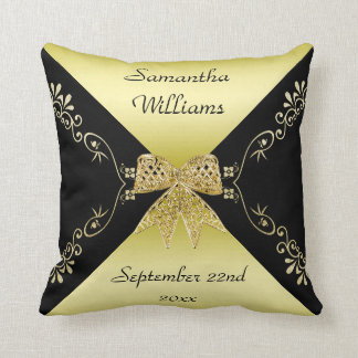 Stylish Gold & Black Decorative Bow Throw Pillow
