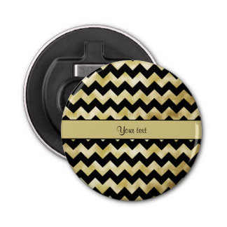 Stylish Gold & Black ZigZags Button Bottle Opener