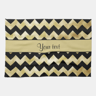 Stylish Gold & Black ZigZags Hand Towel