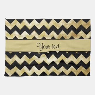 Stylish Gold & Black ZigZags Kitchen Towel