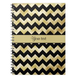 Stylish Gold & Black ZigZags Notebooks