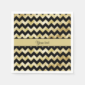 Stylish Gold & Black ZigZags Paper Napkin