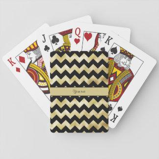 Stylish Gold & Black ZigZags Poker Deck