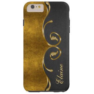 Stylish Gold&Chalkboard iPhone 6 Plus Monogram Tough iPhone 6 Plus Case