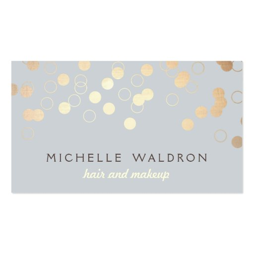 Stylish Gold Confetti Beauty Makeup Artist Gray Business Card Template
