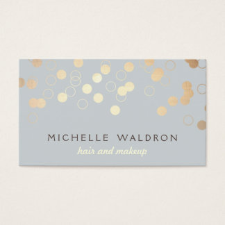 Stylish Gold Confetti Beauty Makeup Artist Gray Business Card