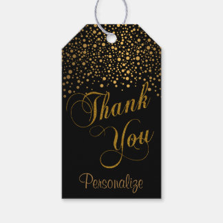 Stylish Gold Confetti Dots | Black | Thank You Gift Tags