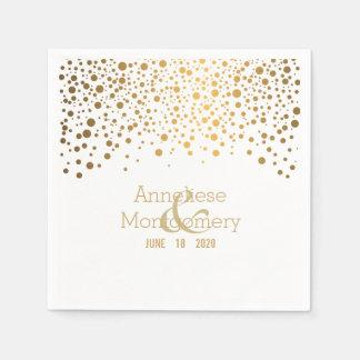 Stylish Gold Confetti Dots on White Paper Napkin